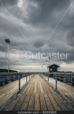 jetty Chiemsee Bavaria Germany stock photo, An old jetty at Chiemsee lake in Bavaria Germany by Markus Gann