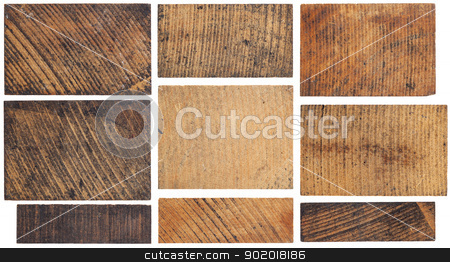 grunge wooden block stock photo, texture of old, stained, grunge wooden block isolated on white by Marek Uliasz