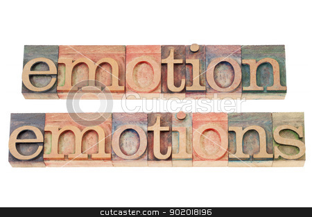 emotion in wood type stock photo, emotion and emotions  words - isolated text  in vintage letterpress wood type by Marek Uliasz
