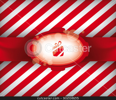 Christmas Gift Wrap Illustration stock vector clipart, Christmas Gift Wrap Vector Illustration with Striped Background Pattern eps10  by 99idesign