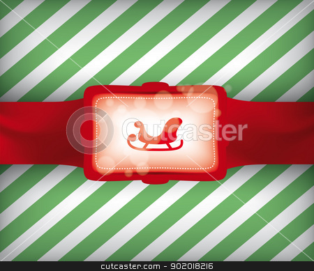 Christmas Sleigh Gift Wrap Illustration stock vector clipart, Christmas Sleigh Gift Wrap Vector Illustration with Striped Background Pattern eps10  by 99idesign