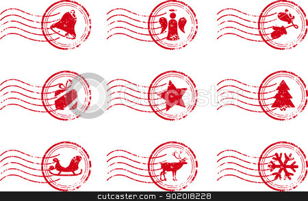 Holiday Stamp Set Grunge Motif stock vector clipart, Holiday Stamp Set Grunge Motif Vector Illustration eps8 by 99idesign