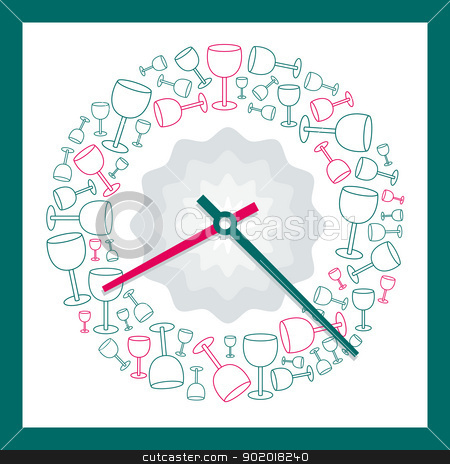 Drink Time - Analog Clock Vector stock vector clipart, Analog Clock Vector illustration with glasses decorative pattern on a white background  by 99idesign