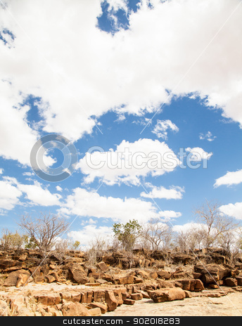 Adventure in Kenya stock photo, Kenya, Tsavo East National Park. A path in the middle of savanna with a wonderful blue sky by Perseomedusa