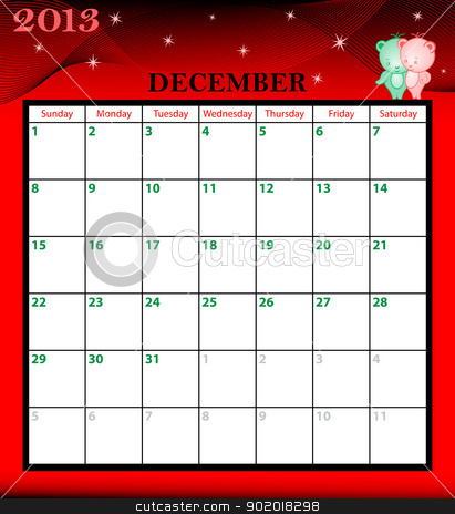 Calendar 2013 December stock vector clipart, Calendar 2013 December month with large date boxes. Cartoon characters and patterned background. January to December months available. by toots77