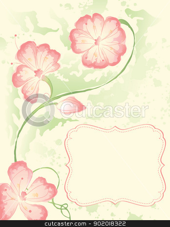 Watercolor Flowers stock vector clipart, Watercolor branch with a frame by wingedcats