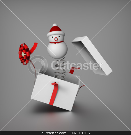 Snowman mimics Jack in the box stock photo, Snowman springs out from the gift box to surprises everybody by mrdoggs