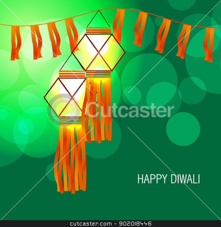 diwali glowing lamp stock vector clipart, vector beautiful diwali glowing lamp by pinnacleanimates
