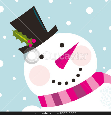 Cute happy Snowman face with snowing background stock vector clipart, Happy Christmas snowman. Vector cartoon Illustration  by Jana Guothova