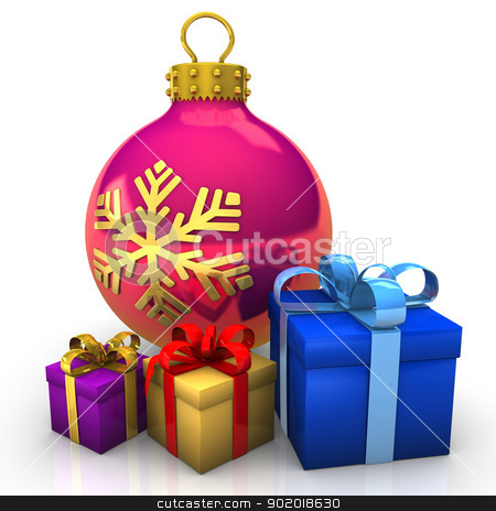 Bauble Gifts stock photo, Bauble with gifts on the white background. by Alexander Limbach