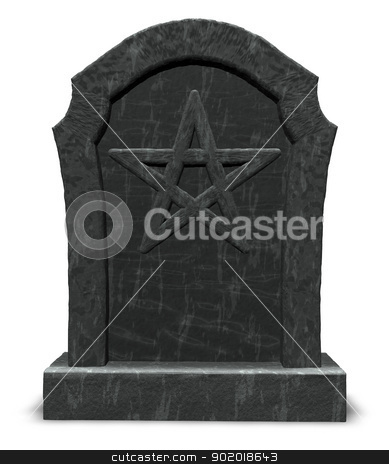 pentacle on gravestone stock photo, pentacle on gravestone - 3d illustration by J?