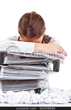 Tired woman stock photo, Tired woman with ringbinders sitting at the desk by Grafvision