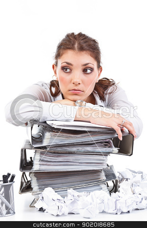 Secretary stock photo, Secretary having a lot of paperwork to do by Grafvision