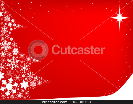 Red, Red Christmas stock vector clipart, A christmas tree created from snowflakes on a red background. by Kotto