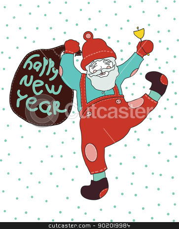 New year. stock vector clipart, Cheerful Santa Claus celebrates new year. he calls in a hand bell and bears gifts by Natalia Konstantinova