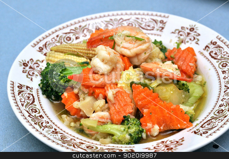Shrimp Stir Fry stock photo, Shrimp stir fry with vegetables, carrots, peas, broccoli, onions, and garlic sauce. by bigjom