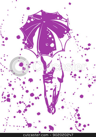 Abstract composition - girl with an umbrella stock vector clipart, The image of a silhouette of the girl with an umbrella and fine drops of rain. vector illustration. by Natalia Konstantinova
