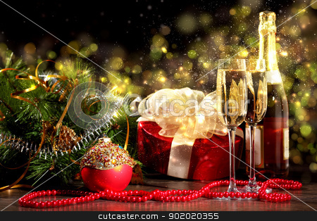 New Year's collage with glasses stock photo, New Year's collage with glasses of champagne. Decorations and ribbons on a bright color background by Sergey Nivens