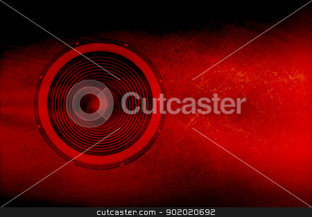 Speaker on a red grunge background stock photo, Audio speaker on a red grunge background by steve ball