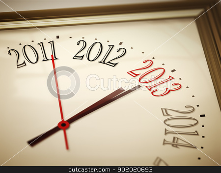 new year 2013 stock photo, An image of a nice clock with 2011 2012 2013 2014 by Markus Gann