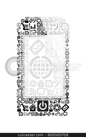 Mobile phone made from application icons stock photo, Mobile phone made from application icons. Vector illustration on white background by sermax55