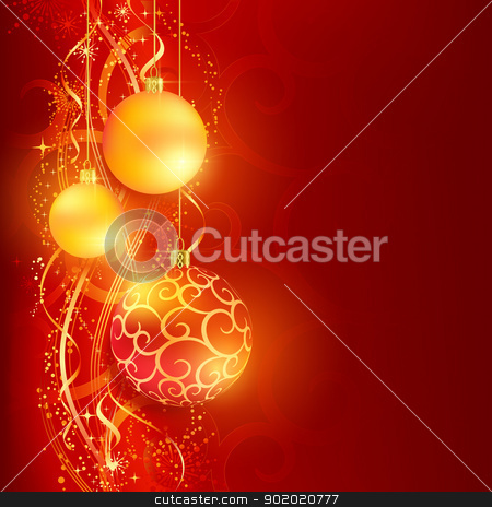 Red golden Christmas background with hanging Christmas balls stock vector clipart, Border with red and golden Christmas balls hanging over a red, golden wavy pattern with stars and snow flakes on a dark red background. Bright, vivid and festive for the Christmas season to come. by Ina Wendrock