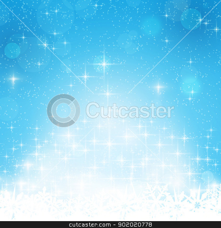 Blue winter, Christmas background with stars and lights stock vector clipart, Abstract blue festive background with out of focus light dots, stars and snowflakes. Great for the festive season of Christmas or any winter theme. by Ina Wendrock