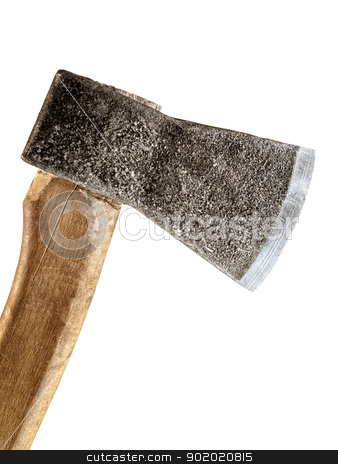 axe on white stock photo, An old axe over the white background by Sergej Razvodovskij