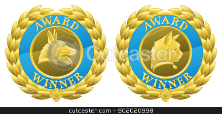 Gold cat and dog pet medals stock vector clipart, Gold cat and dog pet competition winners medals illustrations. Could be for winning pet in pet show or agility competition or for pet product winning in its category in a review or test. by Christos Georghiou