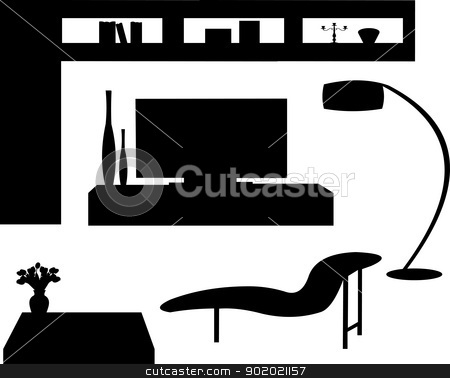 Part of a modern living room with modern furniture silhouette stock vector clipart, Part of a modern living room with modern furniture silhouette, one in the series of similar images by Tijana Mihajlovic