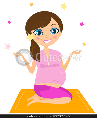 Pregnant yoga woman juggling with flowers stock vector clipart, Woman sitting on mat and practicing yoga asana. Vector