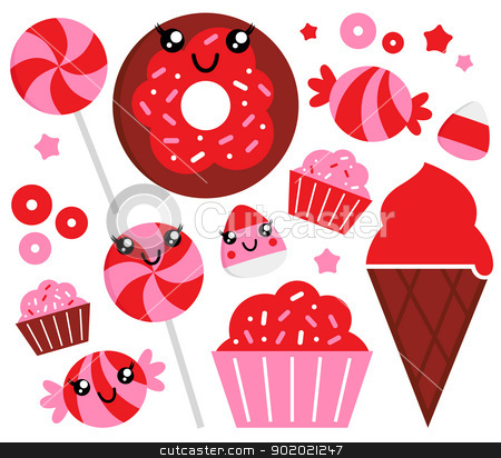 Cute strawberry candy set - red and pink stock vector clipart, Sweet strawberry candy collection. Vector