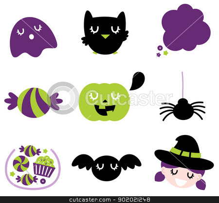 Halloween icon set isolated on white stock vector clipart, Halloween seasonal icons. Vector cartoon by BEEANDGLOW