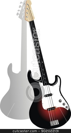vector bass guitar stock vector clipart, vector ilustration by fcsabi