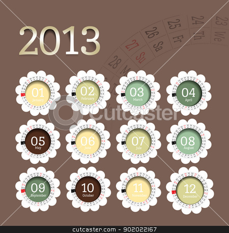 2013 calendar in flower form stock photo, 2013 calendar in flower form. Vector illustration in scrapbooking style by sermax55