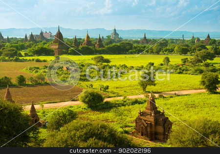 Bagan temples stock photo, Daytime view over temples of Bagan in Myanmar by szefei