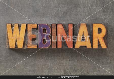 webinar in wood type stock photo, webinar - word in vintage letterpress wood type blocks against grunge metal background by Marek Uliasz