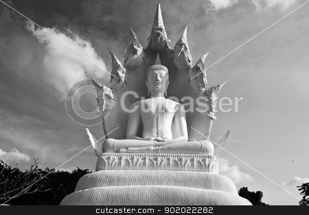 Black and white great  Buddha. stock photo, Black and white great  Buddha. in thailand.  by stockerman