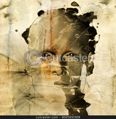 rough sketch of man on grungy paper stock photo, Rough sketch of man on grungy paint stained paper background. 3d illustration. by sirylok