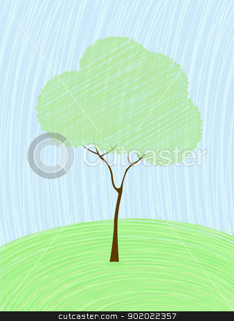 Pastel tree card stock vector clipart, Background card with a stylized tree in pastel colors. by Richard Laschon