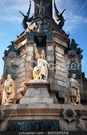 Columbus Monument Victory Statute Barcelona Spain stock photo, Columbus Monument, Monument A Colom, Victory Statue, Barcelona, Spain.  At one end of the La Rambla, the monument was completed for the Universal Exposition in 1888 and is located at the spot where Columbus returned to Spain after his first trip to the Americas. by William Perry
