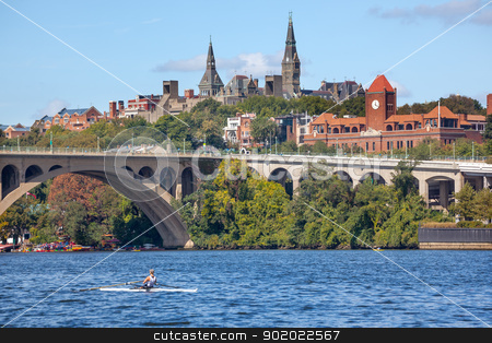 Key Bridge Georgetown University Washington DC Potomac River stock photo, Rowing Potomac River Key Bridge Georgetown University Washington DC from Roosevelt Island.  Completed in 1923 this is the oldest bridge in Washington DC. by William Perry