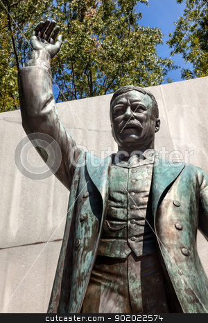 Theodore Roosevelt Statue Island Washington DC stock photo, Theodore Roosevelt Statue Memorial Roosevelt Island Washington DC  by William Perry