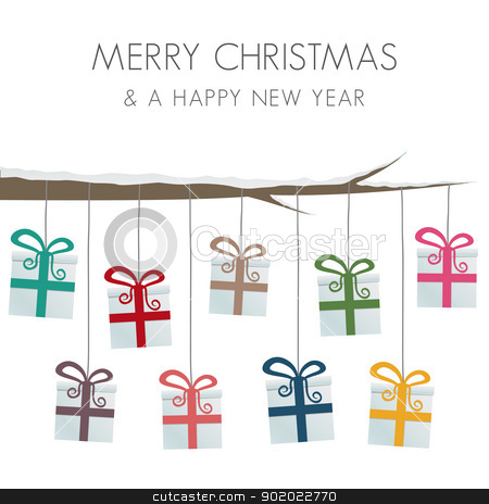 gift boxes hang on twine stock vector clipart, gift boxes hang on twine tree branch by d3images