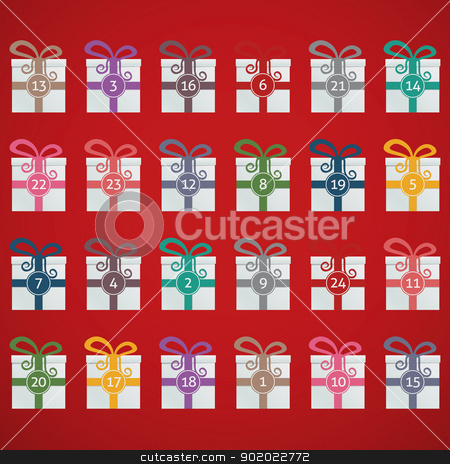 colorful gift boxes advent calendar stock vector clipart, colorful gift boxes advent calendar blue background by d3images