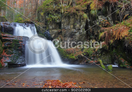 waterfall stock photo, Shot of the fall of water. Stream Huntava - natural area - nature preserve. Resov, Czech republic, Europe. by Siloto