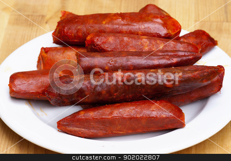 spicy sausages stock photo, Detail of spicy sausages - various kinds by Siloto