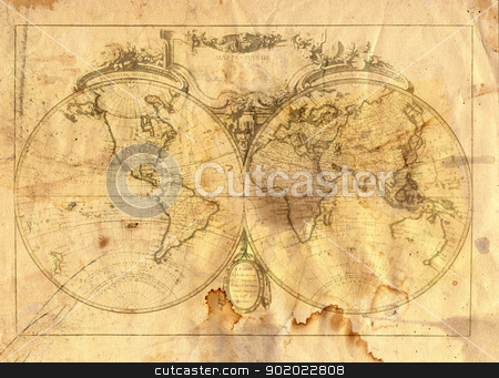 vintage map of the world stock photo, Vintage map of the world in grunge style by Siloto