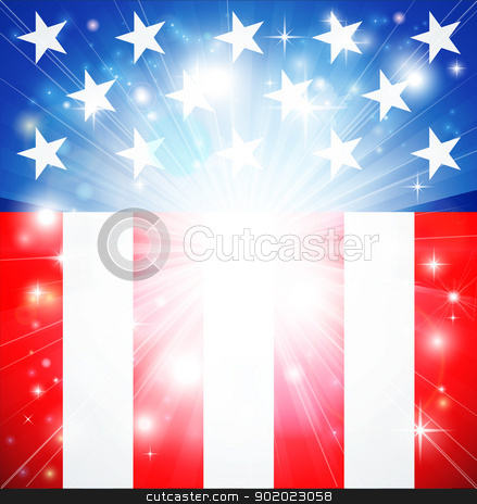 American flag patriotic background stock vector clipart, American flag patriotic background with stars and stripes and space for text in the center