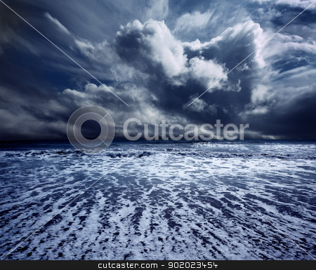 ocean storm stock photo, Background ocean storm with waves and clouds by carloscastilla